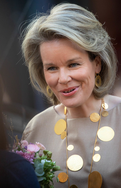 Queen Mathilde of Belgium Bob [hair,face,facial expression,blond,lady,hairstyle,smile,beauty,lip,floristry,queen,mathilde of belgium,brussels,saint-gorik hall,belgium,mathilde of belgium attends the global girls summit by plan international,plan international,global girls summit]