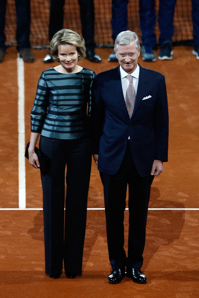 Queen Mathilde of Belgium Print Blouse [day one,suit,event,formal wear,tuxedo,performance,philippe of belgium,mathilde of belgium,v,royal highness,belgium,great britain,davis cup,singles matches,day one]
