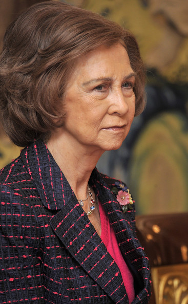 Queen Sofia Bob [chin,portrait,attends,spain,sofia,la zarzuela palace,madrid,queen,audience,audience]