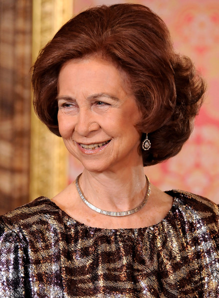 Queen Sofia Curled Out Bob [hair,face,hairstyle,eyebrow,chin,brown hair,layered hair,ringlet,smile,long hair,royals host ambassadors reception,foreign ambassadors reception,madrid,spanish,spain,the royal palace,sofia]
