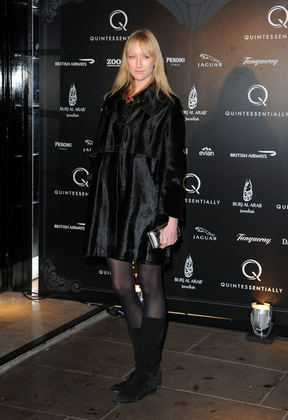 Jade Parfitt looked mysterious at the Quintessentially Anniversary party in a sleek and shiny black coat.