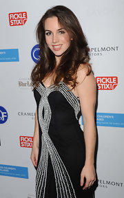 Liv Boeree wore an embellished black strapless dress to 'Poker Night'.