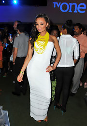 Chanta Patton chose a fitted, strapless dress in a crisp white color for the 'R&B Divas' premiere in Hollywood.