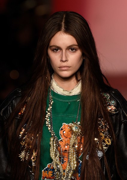 Kaia Gerber blinged up with a statement-making pearl necklace.