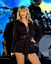 Taylor Swift sparkled onstage in a sequined romper at the We Can Survive concert.