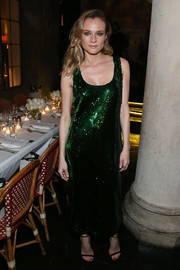 Diane Kruger shimmered like a gem in this green sequin dress by Sally LaPointe at the Repossi Los Angeles dinner.
