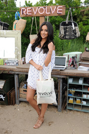 Shay Mitchell went for a breezy boho look in a printed off-the-shoulder mini dress by Tularosa for the Revolve Pop-Up launch party.