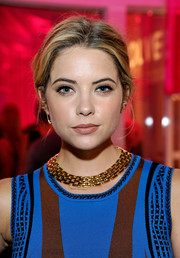 Ashley Benson wore her hair in a simple but elegant loose updo during the Revolve Pop-Up launch.