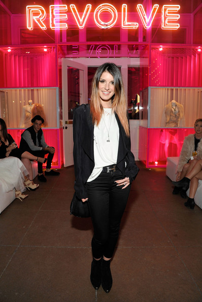 Shenae Grimes opted for a black-and-white drapey blazer and tee combo when she attended the Revolve Pop-Up launch.