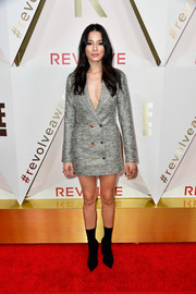 Jessica Gomes teamed her dress with black sock boots for total edge.
