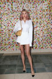 Elsa Hosk donned an oversized white button-down for #REVOLVEfestival.