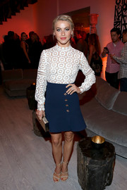 Julianne Hough looks sailor-chic in this Self-Portrait crochet lace dress.