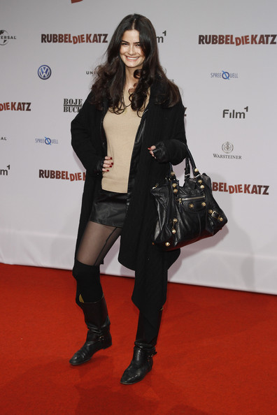 Shermine Shahrivar stepped out at a movie premiere wearing a pair of buckled leather boots.