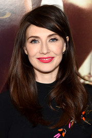 Carice Van Houten styled her hair with wavy ends and emo bangs for the New York screening of 'Race.'