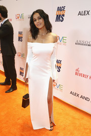 Emmanuelle Chriqui looked simply divine in a white off-the-shoulder column dress by Alexis at the Race to Erase MS Gala.