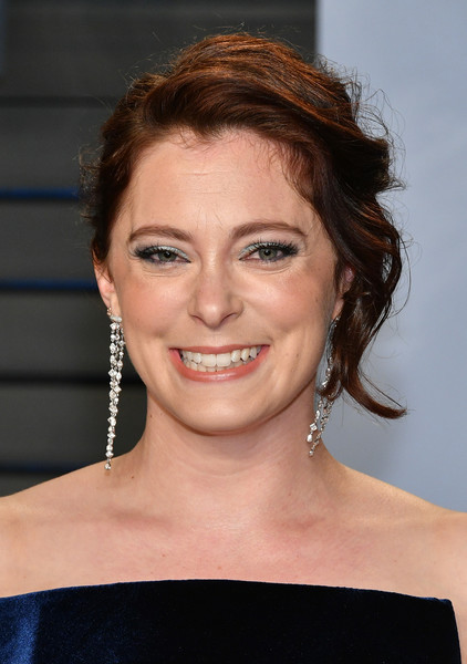 Rachel Bloom Messy Updo [oscar party,vanity fair,hair,face,hairstyle,eyebrow,chin,shoulder,beauty,lip,forehead,smile,beverly hills,california,wallis annenberg center for the performing arts,radhika jones - arrivals,radhika jones,rachel bloom]