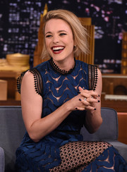 Black nail polish and tousled layers gave Rachel McAdams' look an edgy touch during her appearance on 'Jimmy Fallon.'