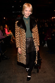 Annabelle Dexter-Jones was gangster-chic in a leopard-print fur coat during the Rag & Bone fashion show.