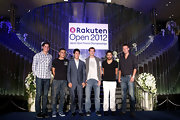 Janko Tipsarevic changed up his usual tennis uniform for a basic black V-neck tee at an opening event for the Rakuten Open.