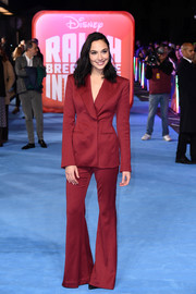 Gal Gadot suited up in wine-red Mugler for the European premiere of 'Ralph Breaks the Internet.'