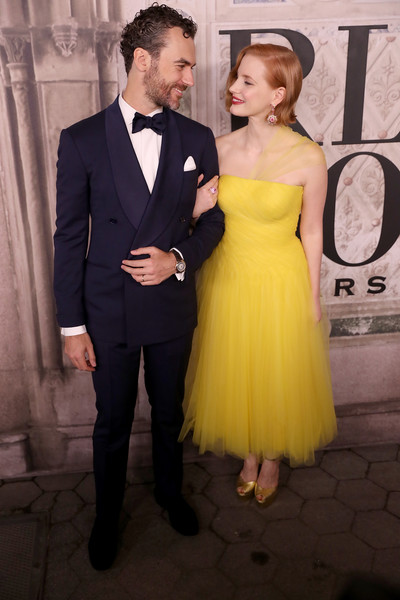More Pics of Jessica Chastain Peep Toe Pumps (1 of 7) - Jessica Chastain Lookbook - StyleBistro [suit,formal wear,dress,clothing,yellow,tuxedo,gown,cocktail dress,event,fashion,new york city,bethesda terrace,new york fashion week,fashion show,ralph lauren - arrivals,ralph lauren,jessica chastain,gian luca passi de preposulo]