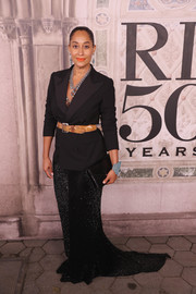 Tracee Ellis Ross paired a black tux jacket with a tan belt for the Ralph Lauren fashion show.