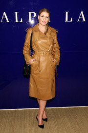 Kitty Spencer looked tres chic in a tan leather trench coat at the Ralph Lauren fashion show.