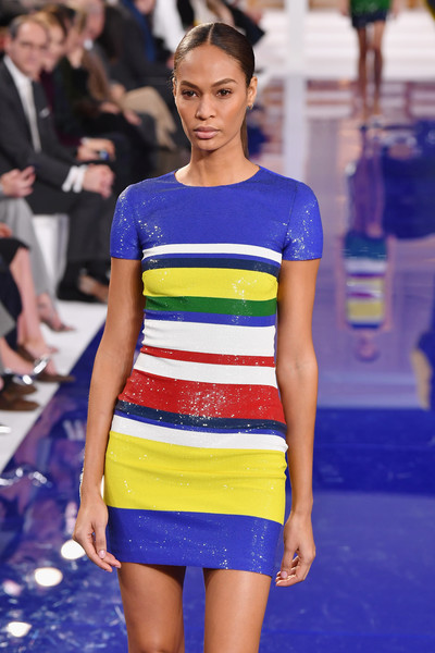 More Pics of Joan Smalls Sequin Dress (1 of 2) - Joan Smalls Lookbook - StyleBistro [the shows,fashion model,fashion,fashion show,clothing,cobalt blue,electric blue,yellow,runway,fashion design,haute couture,ralph lauren,joan smalls,runway,new york city,new york fashion week]