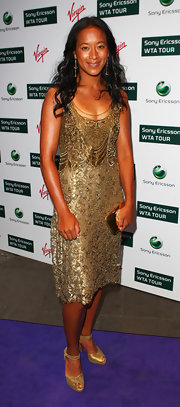 Anne Keothavong shimmered in an embellished gold flapper-style cocktail dress.