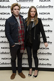 Sam Clafin opted for a classic denim jacket to complete his look at the Rankin Collabor8te Premiere.