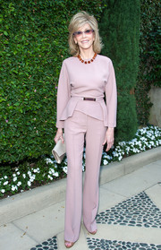 Jane Fonda kept it classy in a belted mauve peplum top at the Rape Foundation's annual brunch.