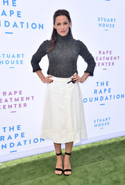 Jennifer Garner looked ready for fall in her gray turtleneck at the Rape Foundation brunch.