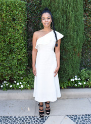 Susan Kelechi Watson looked simply fab in a white one-shoulder dress with ruffle detail at the Rape Foundation's annual brunch.