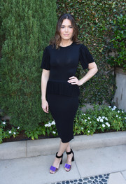 Mandy Moore styled her LBD with a pair of tricolor velvet sandals by Pierre Hardy.