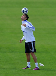 Cristiano rocked the field in purple cleats with neon yellow detailing.
