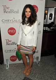 Abigail Spencer played up the green in her striped skirt with an emerald chain strap purse.