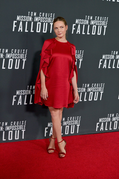 Rebecca Ferguson Evening Sandals [mission: impossible - fallout,clothing,red,dress,red carpet,premiere,carpet,cocktail dress,fashion,fashion model,flooring,rebecca ferguson,smithsonian,u.s.,washington dc,national air and space museum,premiere]