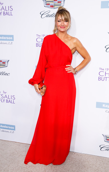 Rebecca Gayheart One Shoulder Dress