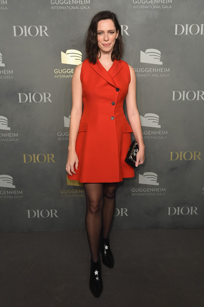 Rebecca Hall Leather Clutch [dior,rebecca hall,clothing,dress,red,cocktail dress,fashion model,fashion,little black dress,tights,footwear,fashion design,guggenheim international pre-party made possible,guggenheim international gala pre-party,new york city]