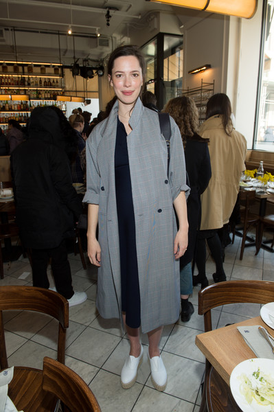 Rebecca Hall Wedges [clothing,coat,outerwear,fashion,suit,textile,blazer,formal wear,girl,jacket,gabriela hearst,rebecca hall,front row,new york city,new york fashion week,fashion show]