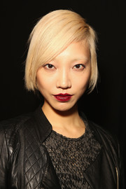 Soo Joo Park looked cool and youthful with this short side-parted 'do at the Rebecca Minkoff fashion show.