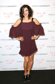 Jessica Szohr chose a pair of black Rebecca Minkoff clogs to finish off her look.