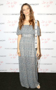 Angela Sarafyan looked adorable in a blue off-the-shoulder maxi dress by Rebecca Minkoff during the brand's 'See Now, Buy Now' fashion show.