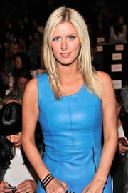 Nicky Hilton complemented her stylish leather dress with a modern geometric bracelet when she attended the Rebecca Minkoff fashion show.
