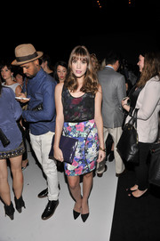 Christa B. Allen looked sweet and girly in a floral sheath dress during the Rebecca Minkoff fashion show.