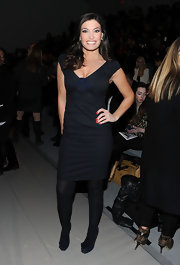 Kimberly Guilfoyle wore a sensuous little black dress to the Rebecca Taylor fashion show.
