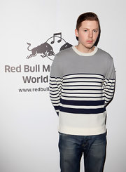 Professor Green looked perky in his black-and-white striped crewneck sweater at the Red Bull Revolutions in Sound.
