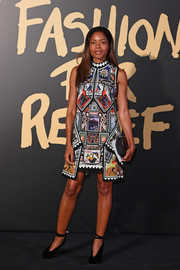 Naomie Harris looked vibrant in a stamp-print shift dress by Mary Katrantzou at the 2019 Fashion for Relief London.