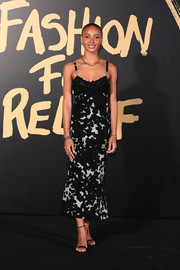Adwoa Aboah attended the 2019 Fashion for Relief London wearing a black-and-white slip dress.