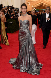 Lily Aldridge looked phenomenal in a draped silver strapless gown by Michael Kors during the Met Gala.